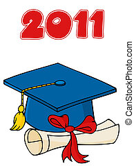 boné graduado, com, diploma, 2011
