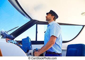 boné, indoor, boating, marinheiro, capitão, bote
