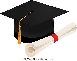 boné, isolado, graduação, diploma, fundo, branca, scroll