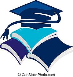 boné, livros, graduação
