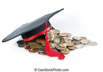 boné, moedas, graduação, &
