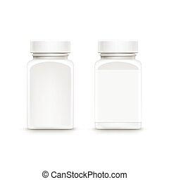 boné, plástico, embalagem, vetorial, garrafa, pílulas