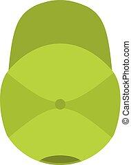 boné plano, basebol, ícone, verde, style.