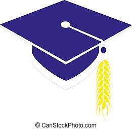 boné, vetorial, eps10, graduação, ilustração