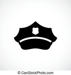 boné, vetorial, polícia, ícone