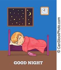 bon, affiche, lit, dormir, vecteur, fille nuit