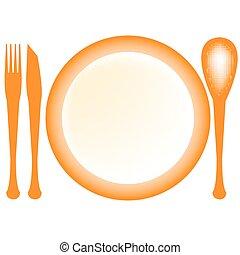 bon apetit - plate and dishes, vector art illustration; more...