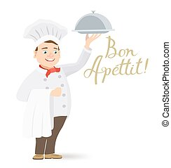 bon, apettit, chef cuistot, tenue, message, plat, dessin animé, heureux