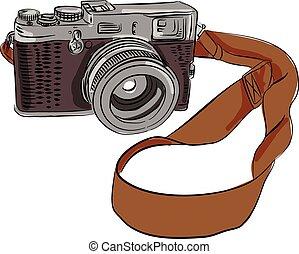 bon appareil-photo, dessin, isolé