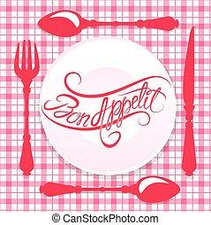 bon, appetit!, calligraphic, testo, su, piastra, con, forchetta, coltello, e, cucchiaio, disegno, per, caffè, o, menu ristorante, coperchio, in, rosa, colors.