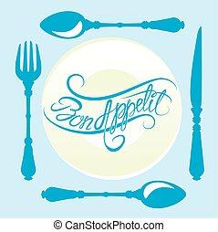bon, appetit!, calligraphic, testo, su, piastra, con, forchetta, coltello, e, cucchiaio, disegno, per, caffè, o, menu ristorante, coperchio, in, blu, colors.