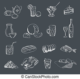 food alcohol drinks fast food vector sketch