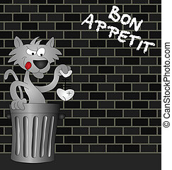 Bon Appetit - Feline Bon Appetit message on urban brick wall...