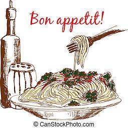 bon, appetit!, pâtes.