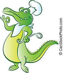 bon appetit - vector illustration of a cook crocodile mascot