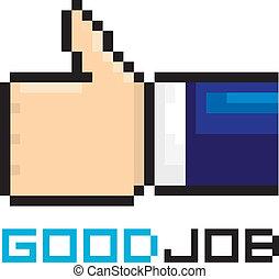 bon, art, aimer, signe., pixel, métier, vecteur, style., icône