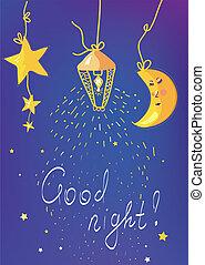 bon, bannière, enfants, carte, nuit