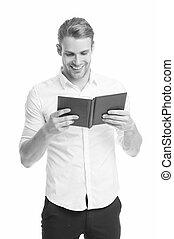 bon, bibliotheca., isolé, education., devoir, heureux, literature., type, étudiant, langue, bibliothèque, book., beau, avidly., lire, livre, école, white., homme