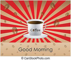 bon, café, matin