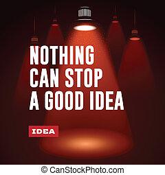 bon, concept., arrêt, idée, idea., boîte, rien