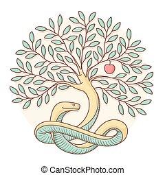 bon, connaissance, coloré, apple., arbre, mal, vecteur, serpent, design., illustration.