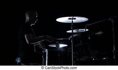 bon, drummer., musique, fond, performance, professionnel, vue., côté, noir