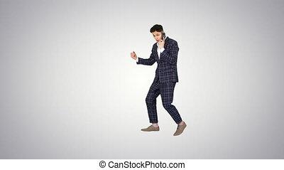 bon, formel, nouvelles, après, inspiré, réception, homme, gradient, téléphone, danse, arrière-plan.