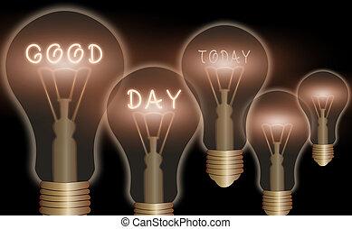 bon, fun., day., apprécier, temps, moment, grand, texte, lotissements, signe, conceptuel, projection, photo, avoir