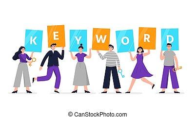 bon, gens, plat, keyword., toile, annonces, tenue, signes, ou, pages, autre, groupe, vecteur, bannières, promotion., recherche, illustration, seo, mignon, atterrissage, mot, illustration., optimization, moteur