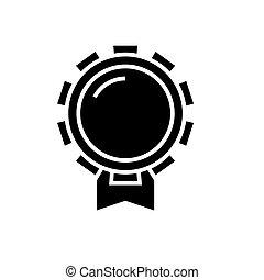 bon, illustration, isolé, récompense, signe, vecteur, arrière-plan noir, icône