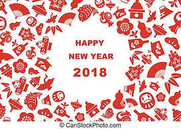 bon, japonaise, éléments, 2018, année, nouveau, carte, chance