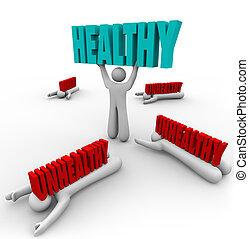 bon, malsain, sain, personne, vs, santé, fitness
