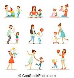 bon, maman, jeu mère, aimer, leur, ensemble, temps, illustrations, dessin animé, apprécier, qualité, enfants, heureux