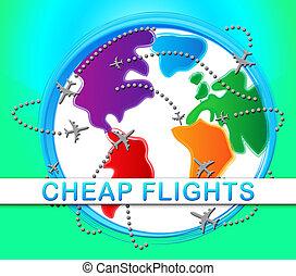 bon marché, cout, bas, vols, représente, promo, illustration...