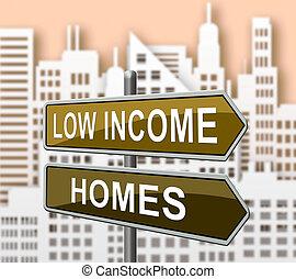 bon marché, maison, logement, -, illustration, signification, bas, revenu, cityscape, maison, ou, 3d