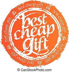 bon marché, mieux, cadeau, stamp.