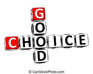 bon, mots croisés, 3d, choix