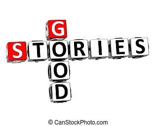 bon, mots croisés, histoires, fond, blanc, 3d