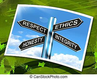 bon, moyens, signe, qualities, respect, éthique, honnête, intégrité