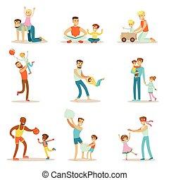 bon, pères, apprécier, aimer, leur, ensemble, temps, illustrations, jouer, papa, qualité, enfants, dessin animé, heureux
