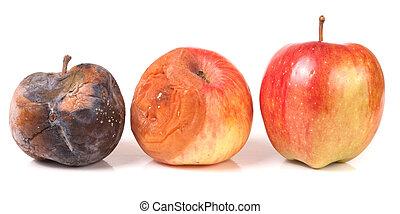 bon, pomme, isolé, deux, une, pourri, fond, blanc