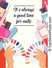 bon, poster., nails., always, pousseur, texte, clous, manucure, accessoires, cuticule, il, clou, vecteur, scissors., illustration, fichier, temps, impression, chevêtre, bannière, dessin animé