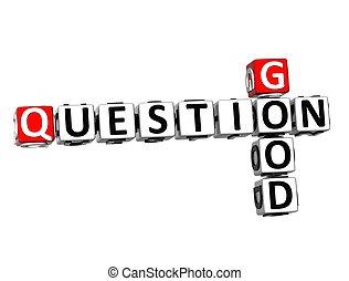 bon, question, mots croisés, fond, blanc, 3d