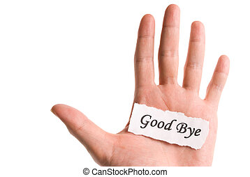 bon revoir, mot, main