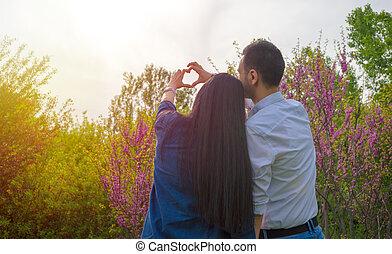bon, romantique coupler, ensemble, temps, avoir