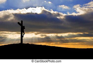 bon, silhouette, christ, vendredi, jésus, crucifixion