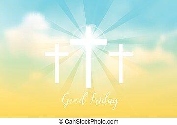 bon, soleil, croix, friday., rayons, fond, blanc