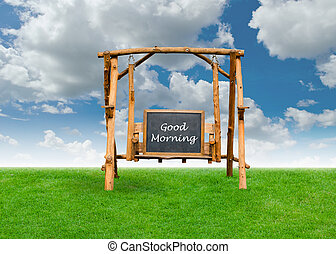 bon, sur, matin, champ, tableau, balançoire, chaise, herbe