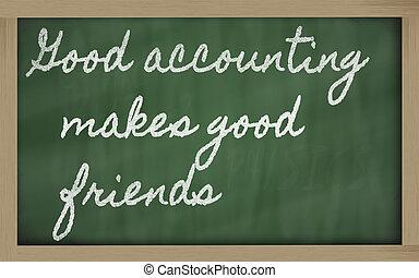 bon, tableau noir, -, écritures, marques, comptabilité, écriture, amis