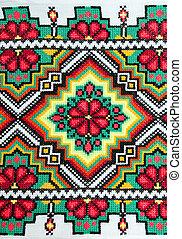 bon, ukrainien, ornement, pattern., brodé, ethnique, croix-...